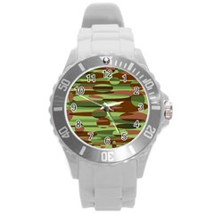 Green And Brown Spheres By Khoncepts Com Round Plastic Sport Watch Large