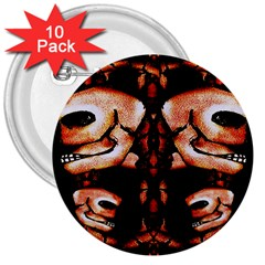 Skull Motif Ornament 3  Button (10 pack)