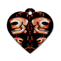 Skull Motif Ornament Dog Tag Heart (Two Sided)