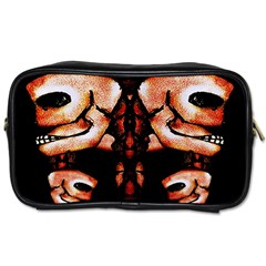 Skull Motif Ornament Travel Toiletry Bag (two Sides)