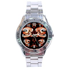 Skull Motif Ornament Stainless Steel Watch