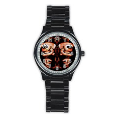 Skull Motif Ornament Sport Metal Watch (black)