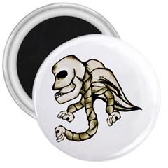 Angel Skull 3  Button Magnet