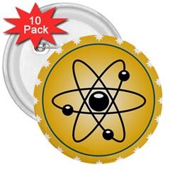 Atom Symbol 3  Button (10 pack)