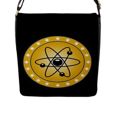 Atom Symbol Flap Closure Messenger Bag (large)