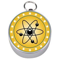 Atom Symbol Silver Compass