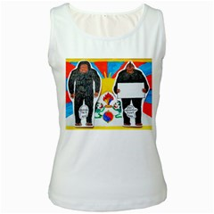 2 Yeti, 1 Text On Tibetan Flag, Women s Tank Top (white)