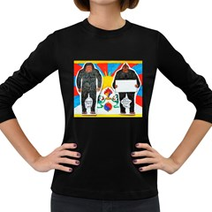 2 Yeti, 1 Text On Tibetan Flag, Women s Long Sleeve T-shirt (Dark Colored)
