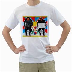 2 Yeti, 1 Text On Tibetan Flag, Men s T-Shirt (White)