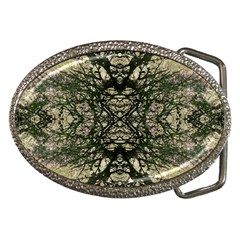 Winter Colors Collage Belt Buckle (oval)