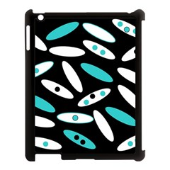 Black, White And Blue Circles By Celeste Khoncepts Com Apple iPad 3/4 Case (Black)
