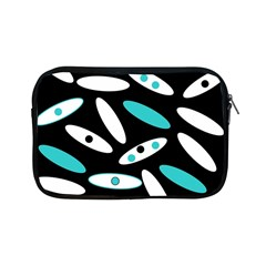 Black, White And Blue Circles By Celeste Khoncepts Com Apple iPad Mini Zippered Sleeve