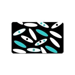 Black, White And Blue Circles By Celeste Khoncepts Com Magnet (Name Card)