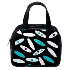 Black, White And Blue Circles By Celeste Khoncepts Com Classic Handbag (one Side)