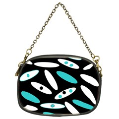 Black, White And Blue Circles By Celeste Khoncepts Com Chain Purse (one Side)