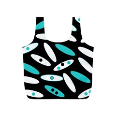 Black, White And Blue Circles By Celeste Khoncepts Com Reusable Bag (s)