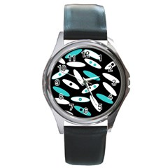 Black, White And Blue Circles By Celeste Khoncepts Com Round Leather Watch (silver Rim)