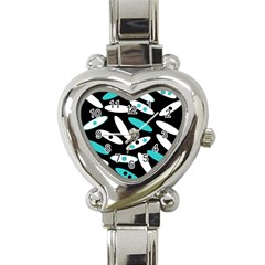 Black, White And Blue Circles By Celeste Khoncepts Com Heart Italian Charm Watch