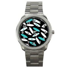 Black, White And Blue Circles By Celeste Khoncepts Com Sport Metal Watch