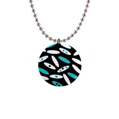 Black, White And Blue Circles By Celeste Khoncepts Com Button Necklace