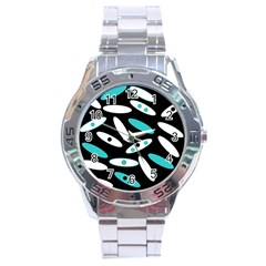 Black, White And Blue Circles By Celeste Khoncepts Com Stainless Steel Watch