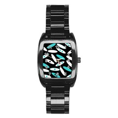 Black, White And Blue Circles By Celeste Khoncepts Com Stainless Steel Barrel Watch