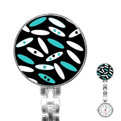 Black, White And Blue Circles By Celeste Khoncepts Com Stainless Steel Nurses Watch
