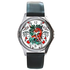 Tribal Dragon Round Leather Watch (silver Rim)