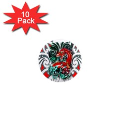 Tribal Dragon 1  Mini Button Magnet (10 Pack)