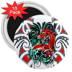 Tribal Dragon 3  Button Magnet (10 pack)