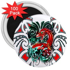 Tribal Dragon 3  Button Magnet (100 pack)
