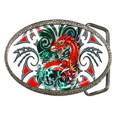 Tribal Dragon Belt Buckle (oval)