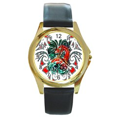 Tribal Dragon Round Leather Watch (Gold Rim)