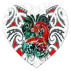Tribal Dragon Jigsaw Puzzle (Heart)