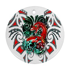 Tribal Dragon Round Ornament (two Sides)