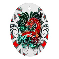Tribal Dragon Oval Ornament (Two Sides)