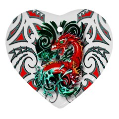 Tribal Dragon Heart Ornament (Two Sides)