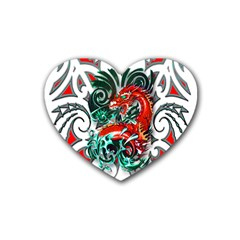 Tribal Dragon Drink Coasters 4 Pack (heart)
