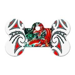 Tribal Dragon Dog Tag Bone (Two Sided)