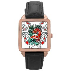 Tribal Dragon Rose Gold Leather Watch