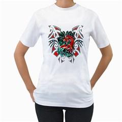 Tribal Dragon Women s T-Shirt (White)