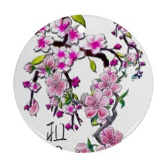Cherry Bloom Spring Round Ornament