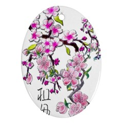 Cherry Bloom Spring Oval Ornament