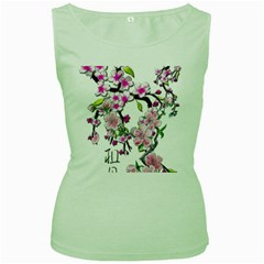 Cherry Bloom Spring Women s Tank Top (Green)