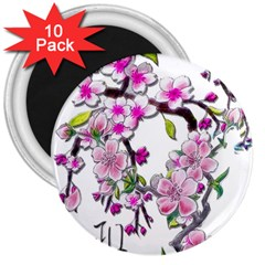 Cherry Bloom Spring 3  Button Magnet (10 pack)