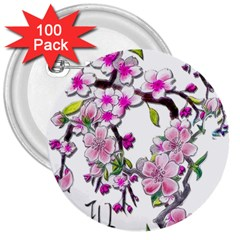 Cherry Bloom Spring 3  Button (100 pack)