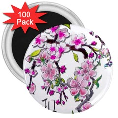 Cherry Bloom Spring 3  Button Magnet (100 Pack)