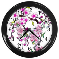 Cherry Bloom Spring Wall Clock (black)