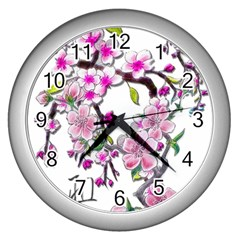 Cherry Bloom Spring Wall Clock (silver)