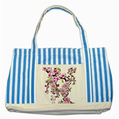 Cherry Bloom Spring Blue Striped Tote Bag